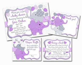Purple grey Elephant baby shower printable invitation set baby boy digital invite with inserts thank you bring a book Diaper Raffle card