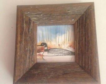 Hand painted 2x2 framed tile of loon scene