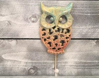 Owl Hook Hand Painted Cast Iron Wall Mount Coat Hooks, Bathroom Towel Owl Hanger, Coat Hooks, Purse Hooks, Item #483242103