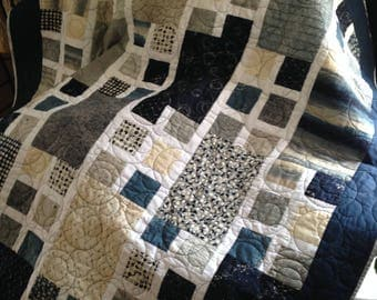 Blue and Gray Squares & Rectangles in an awesome quilt