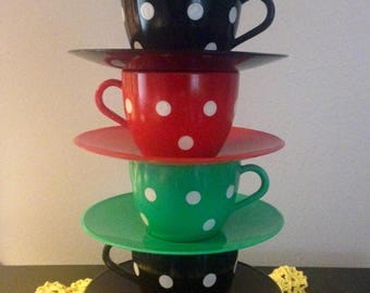 Vintage Child's Toy Plastic Polka Dot Cups and Saucers - Red/Green/Black