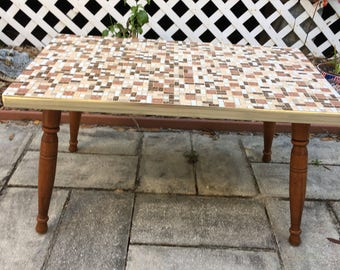 Mosaic Table, Vintage Retro, Art Deco, Upcycled End Table, Coffee Table,