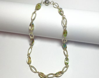 Silver Link Necklace with Glass Beads