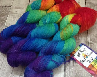 Hand dyed yarn sock merino/nylon Superwash 'Return of the rainbow' wool /Uk indie dyer /knitting /crochet /sock weight