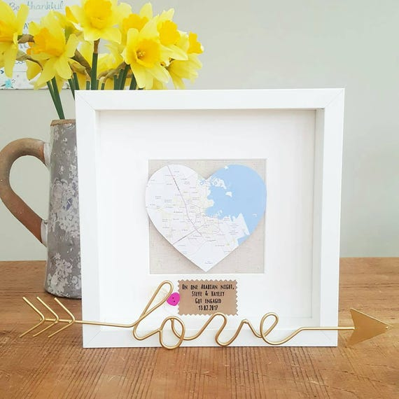 heart map frameengagement frame wedding frameframed mapgifts for couples
