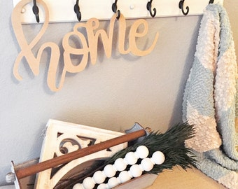 """18"""" HOME Calligraphy Cutout, front door decor, home sign, wooden home sign, housewarming gift, home decor, farmhouse decor, farmhouse"""