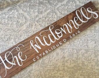 Personalized Family Name Established Sign    Wedding Decor, Wedding Sign, Wedding Gift, Wooden Wedding Sign, Wedding Signage