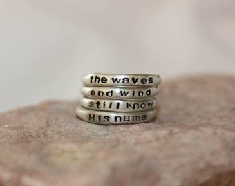 The Waves and Wind Sterling Silver Stamped Stacking Rings - Size 7
