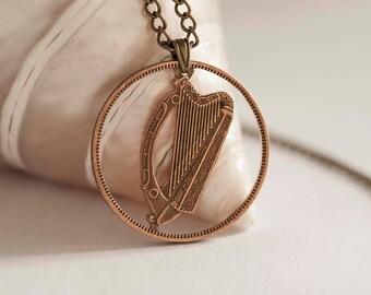 Ireland Cut Coin Necklace. Irish Coin, 1940-1968, 1 Pingin. Handmade, Gaelic Harp.