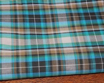 Teal & black tartan fabric/Quilting fabric/100% cotton/ HIGH QUALITY/