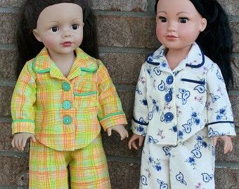 18 Inch Doll Clothes, OOAK, Designer Flannel Pajamas. Winter Sleepwear