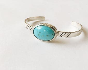 Bohemian Turquoise & Sterling Silver Cuff Bracelet