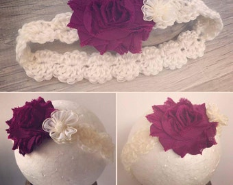 White & burgundy baby flower headband