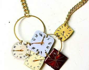 Asymmetrical necklace steampunk dials