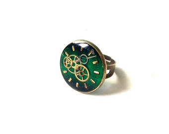 Green quadrant resin ring vintage steampunk chic