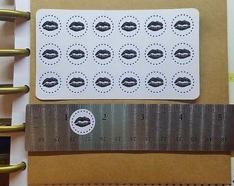 Lipsense Stickers - Black Lips Stickers - Younique Stickers - Lip Stickers - Round Makeup Stickers - Black Kiss Stickers