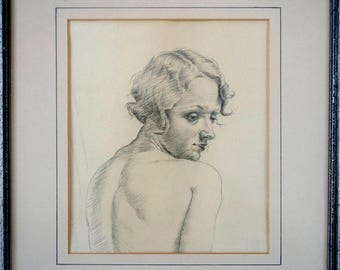 Vintage 1930's Art Deco Portrait - Original Pencil Drawing - Original Mount & Frame - Vintage Portrait - Art Deco Wall Decor