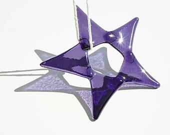 Fused glass star suncatcher, purple glass suncatcher, glass light catcher, purple star suncatcher, window decoration, purple suncatcher