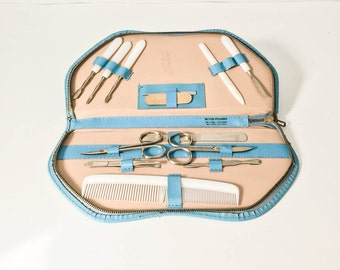 Vintage manicure set - Travel manicure set - Leather case manicure - Ladies manicure tools - Western Germany manicure set - Nail care