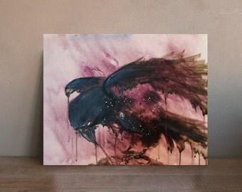 Blackbird | 10 inch x 8 inch Giclée Print of Original Painting | Space Pain