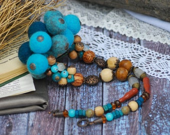 Felted wool necklace Statement Necklace Wearable fiber art Blue wood necklace Romantic necklace Felt beads Gift for her Statement necklace