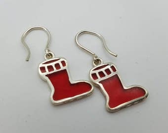 Sterling Silver Stocking Dangle Holiday Earrings