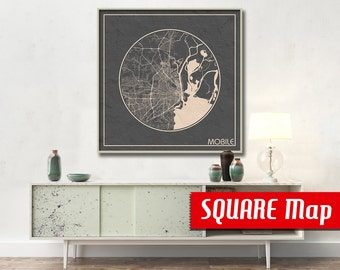 MOBILE AL SQUARE Map Mobile Alabama Poster City Map Mobile Alabama Art Print Mobile Alabama poster Mobile map