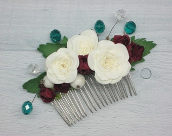 Wedding hair jewelry Delicate flower Maroon hair Ivory wedding Burgundy jewelry Teen girl gift Ivory jewelry Ivory rose hair Hair bridal