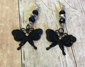 Black Butterfly and Crystal bead earrings, gift for her