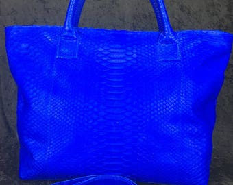 Genuine Exotic Snake Python Skin Handbag Tote Royal Blue