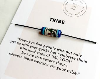 Tribe Tribal Hand-painted Bead Bracelet/ Bridesmaid Gift/ layering bracelet/ Friendship Bracelet/ Love My Tribe Bracelet/