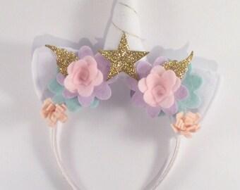 Gold and pink girls birthday - unicorn party headband - Lilly