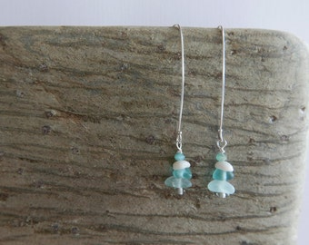 Aqua Beach Glass and Shell Earrings
