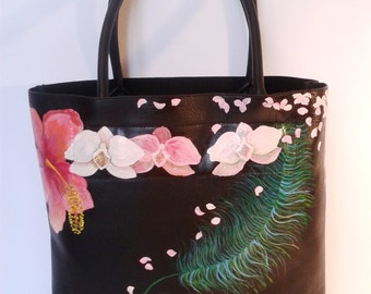 Bag flowers and feathers