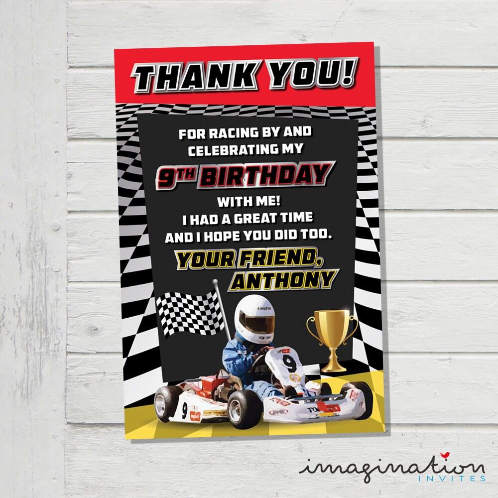 Go Kart Racing Thank You Card VIP Favor Race Speed Birthday