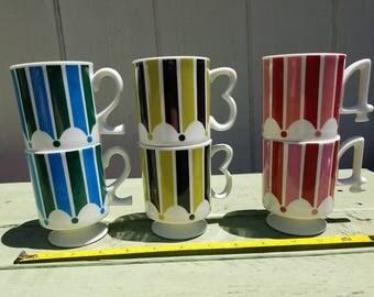 Vintage Royal Crown Circus Stripe Mugs