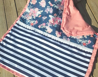 Navy and coral baby blanket, coral floral baby blanket, navy and coral floral blanket, lace trim baby blanket, navy and coral blanket