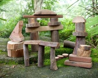 Tree Blocks, Fairy Building Blocks, Natural Wooden Building Blocks, Set of 30 Blocks