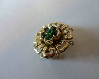 Coro Vintage Gold-Tone Floral Brooch Pin with Faux Emeralds and Rhinestones