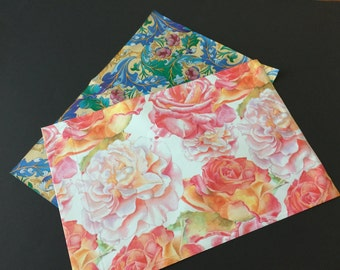 100 10x13 Designer Poly Mailers Flowers Paisley Blue and Watercolor Flowers Pink 50 Each Envelopes Shipping Bags
