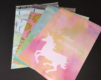 100  10x13 PINEAPPLE PEACOCK Feathers and UNICORN Assortment Poly Mailers Self Sealing Envelopes