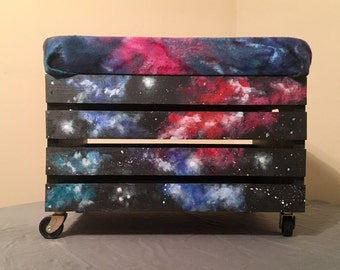 Galaxy, storage, wooden crate, ottoman, furniture