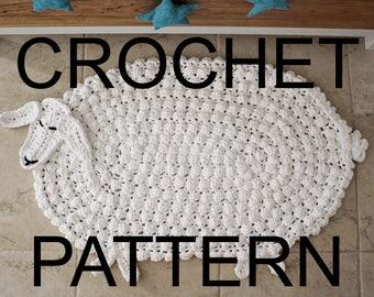 Crochet Rug Pattern, Animal Rug Pattern, Crochet Animal Rug, Hygge Home Decor, Crochet Nursery Decor, Lamb Rug Pattern, Gift, Nursery Rug