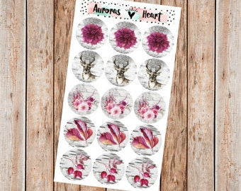 Vintage birch & burgundy circle planner stickers