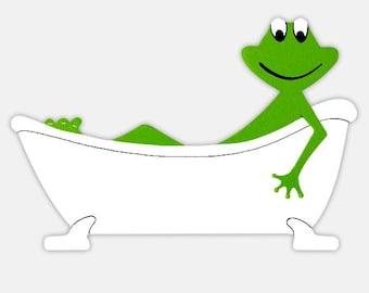 Frog green and white, humorous and customizable bathroom door plate ~ Frog bathroom's door sign, customizable