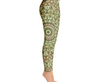 Printed Workout Pants - Camo Leggings, Camouflage Green and Brown Printed Leggings, Yoga Pants Womens Stretch Pants, Yoga Tights