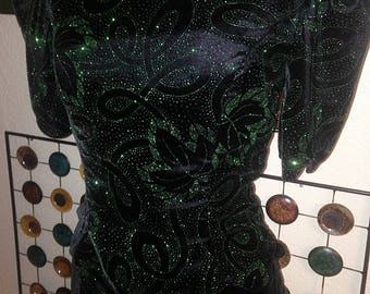 Vintage 80's Emerald and Black Velvet Gown