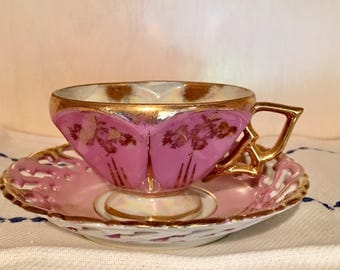 Vintage Pink and Gold Tea Cup and Saucer