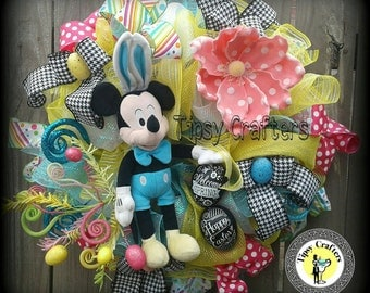 Mickey Mouse Easter wreath  - Easter wreath - Spring Wreath