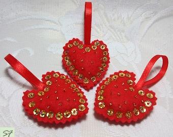 Felt Red Heart ornament, Felt Heart Decor, Hand-sewn Heart, Baby shower gifts, Baby room decor, Fabric Decor, Beadwork Heat, decor party